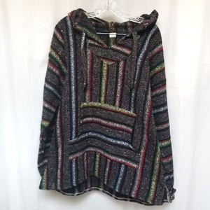 Mexican Baja Grey Rainbow Stripe Hoodie XL